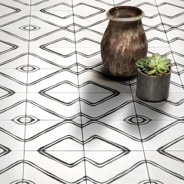 Chawen in Black and White Handmade Cement 8x8 Tiles (Pack 12)