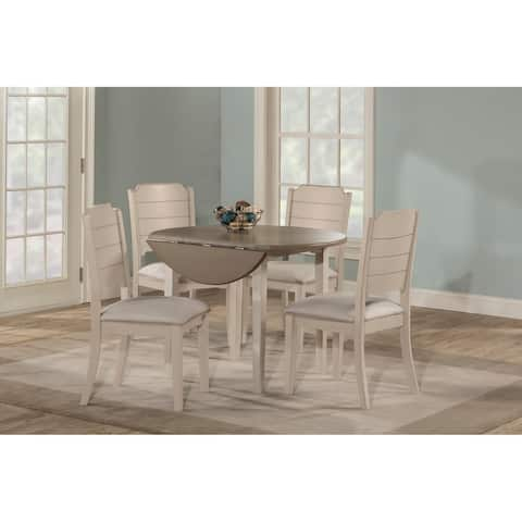The Gray Barn Steeplechase White Drop Leaf Dining Set with Upholstered Chairs