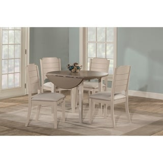 Havenside Home Santa Barbra White Drop Leaf Dining Set with Upholstered Chairs