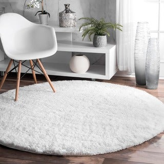 nuLOOM Soft and Plush Cloudy Solid Shag White Round Rug (5'3 Round)
