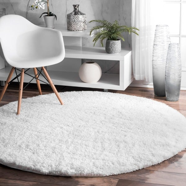 Silver Orchid Rita Solid White Round Shag Area Rug