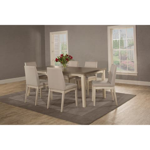 The Gray Barn Steeplechase 7-piece Rectangle Dining Set with Upholsted Chairs, White