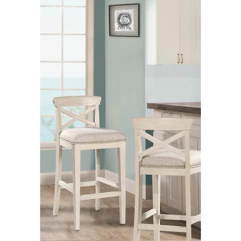 "Hillsdale Furniture Bayview Non-Swivel Bar Stool, White, 30"""