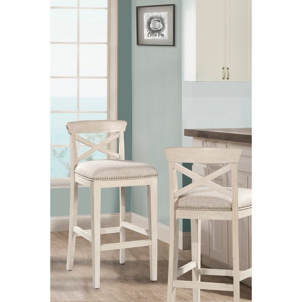 Hillsdale Furniture Bayview White Wood 30-inch Non-swivel Bar Stools (Set of  sc 1 st  Overstock.com & Hillsdale Furniture Bayview White Wood 30-inch Non-swivel Bar ... islam-shia.org