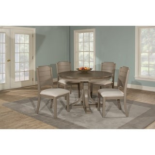Charleston 5 Piece Round Wood Base Dining Set With Parson
