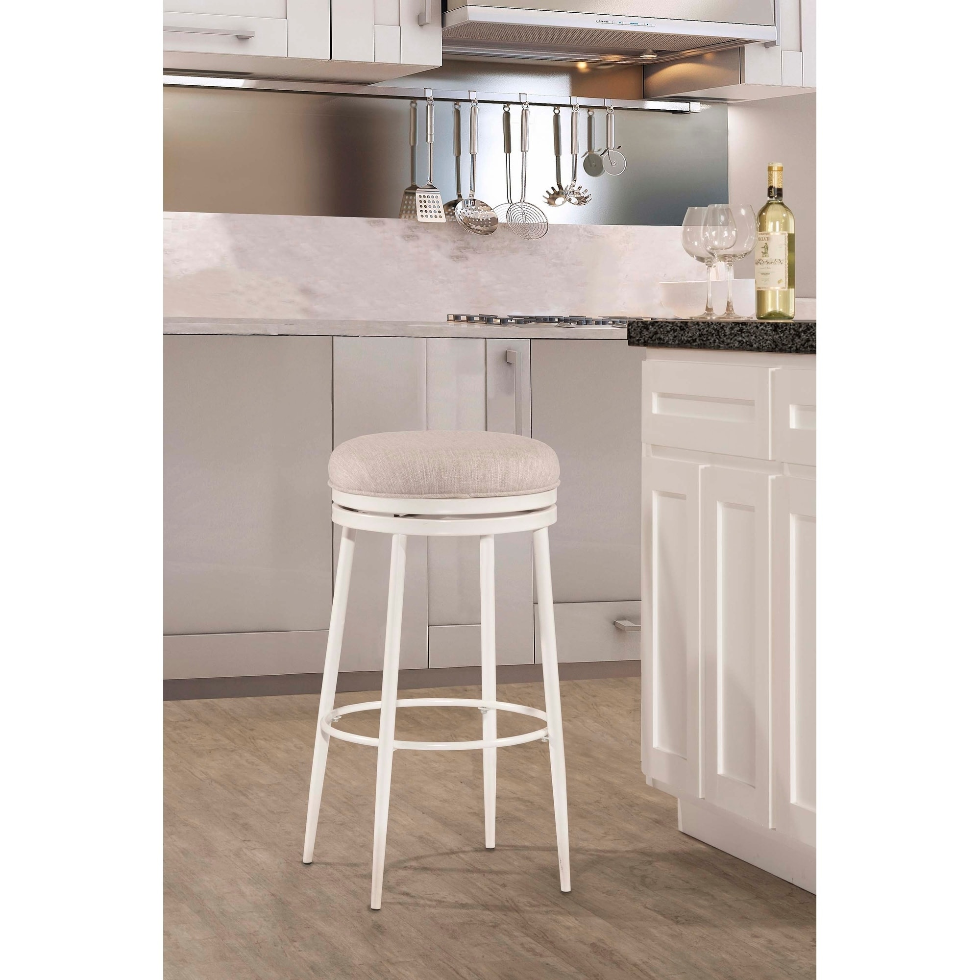 Fabulous Hillsdale Furniture Aubrie Swivel Backless Bar Stool Off White Andrewgaddart Wooden Chair Designs For Living Room Andrewgaddartcom