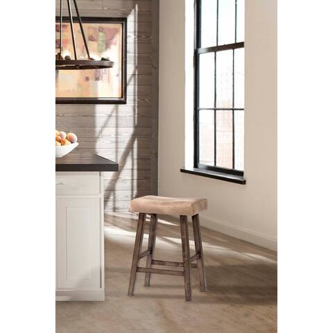 Hillsdale Furniture Saddle Non-Swivel Counter Stool, Rustic Gray