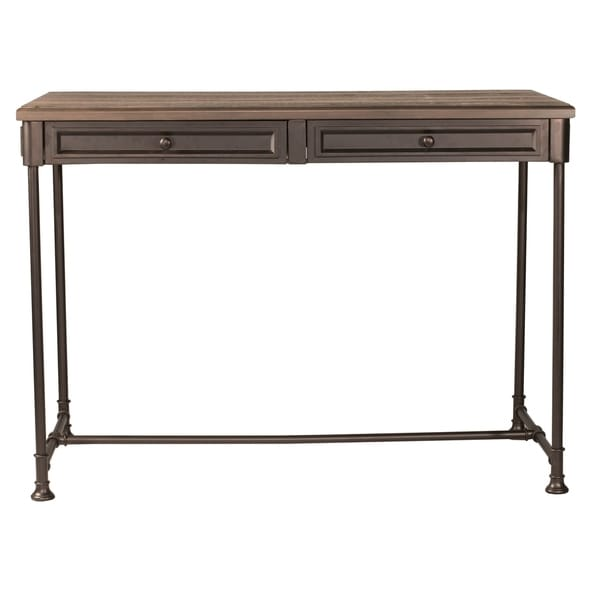Hillsdale Furniture Casselberry Counter Height Table, Walnut - distressed walnut and brown metal