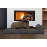 FurHaven Pet Quilted Fleece & Print Suede Chaise Lounge Orthopedic Sofa Dog Bed