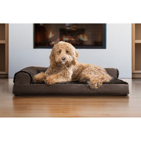 FurHaven Velvet Faux Fur Deluxe Chaise Lounge Orthopedic Sofa-style Pet Bed