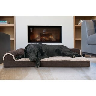 Two-Tone Faux Fur & Suede Deluxe Chaise Lounge Orthopedic Sofa Pet Bed