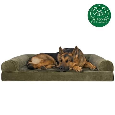 FurHaven Pet Bed Faux Fur & Velvet Orthopedic Sofa Dog Bed