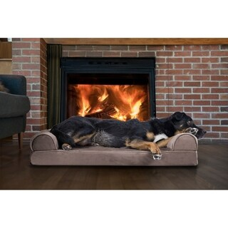 Faux Fur & Velvet Orthopedic Sofa Pet Bed