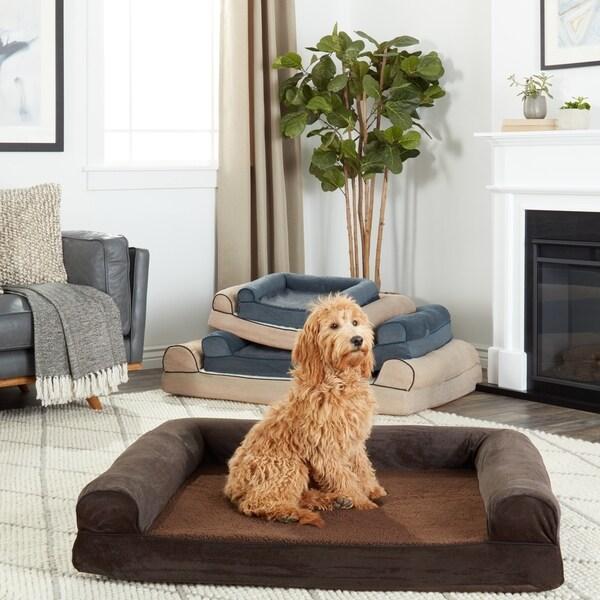 Faux Fleece Chenille Soft Woven Orthopedic Sofa Pet Bed Free