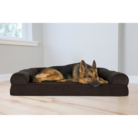 FurHaven Pet Bed Faux Fleece & Chenille Soft Woven Orthopedic Sofa Dog Bed