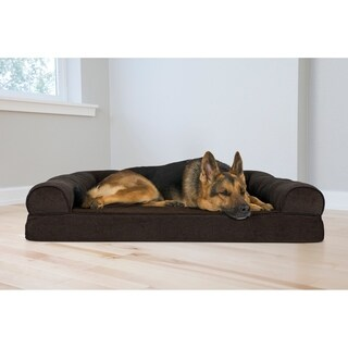 FurHaven Faux Fleece & Chenille Soft Woven Orthopedic Sofa Pet Bed