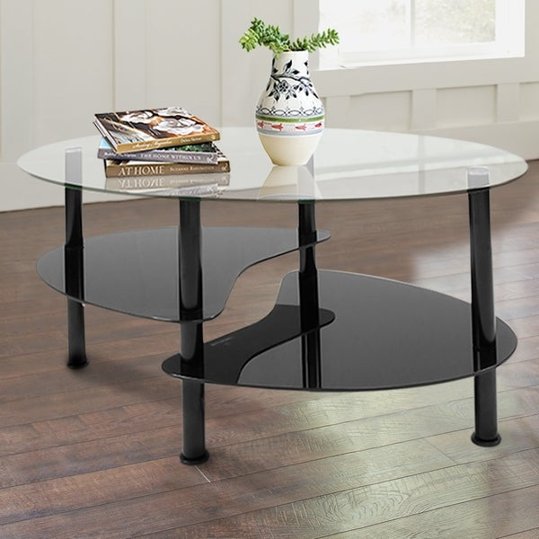 Innovex Crescent Coffee Table Set, Black
