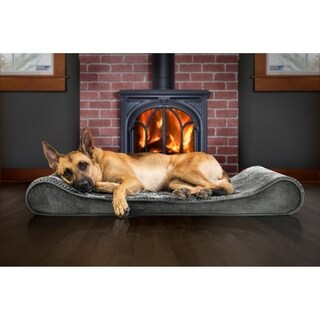 FurHaven Minky Plush & Velvet Luxe Lounger Orthopedic Pet Bed