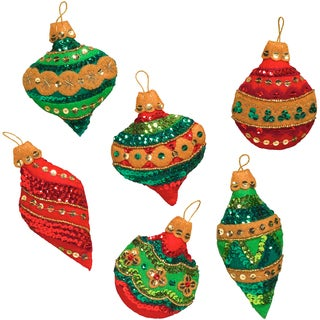"""Glitzy Ornaments Felt Applique Kit-3""""X4"""" Set Of 6"""
