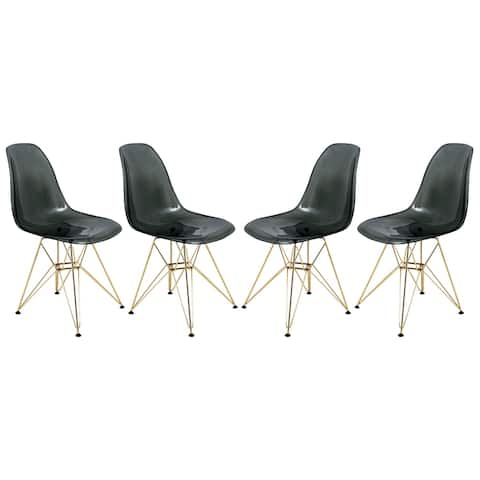 LeisureMod Cresco Black Eiffel Gold Base Dining Side Chair Set of 4