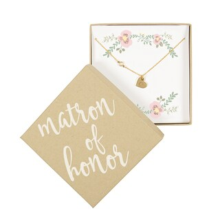 Personalized Matron of Honor Gold Heart Necklace with Bezel Crystal