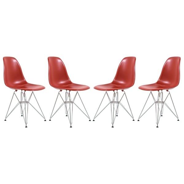 LeisureMod Cresco Red Eiffel Chrome Base Dining Side Chair Set of 4