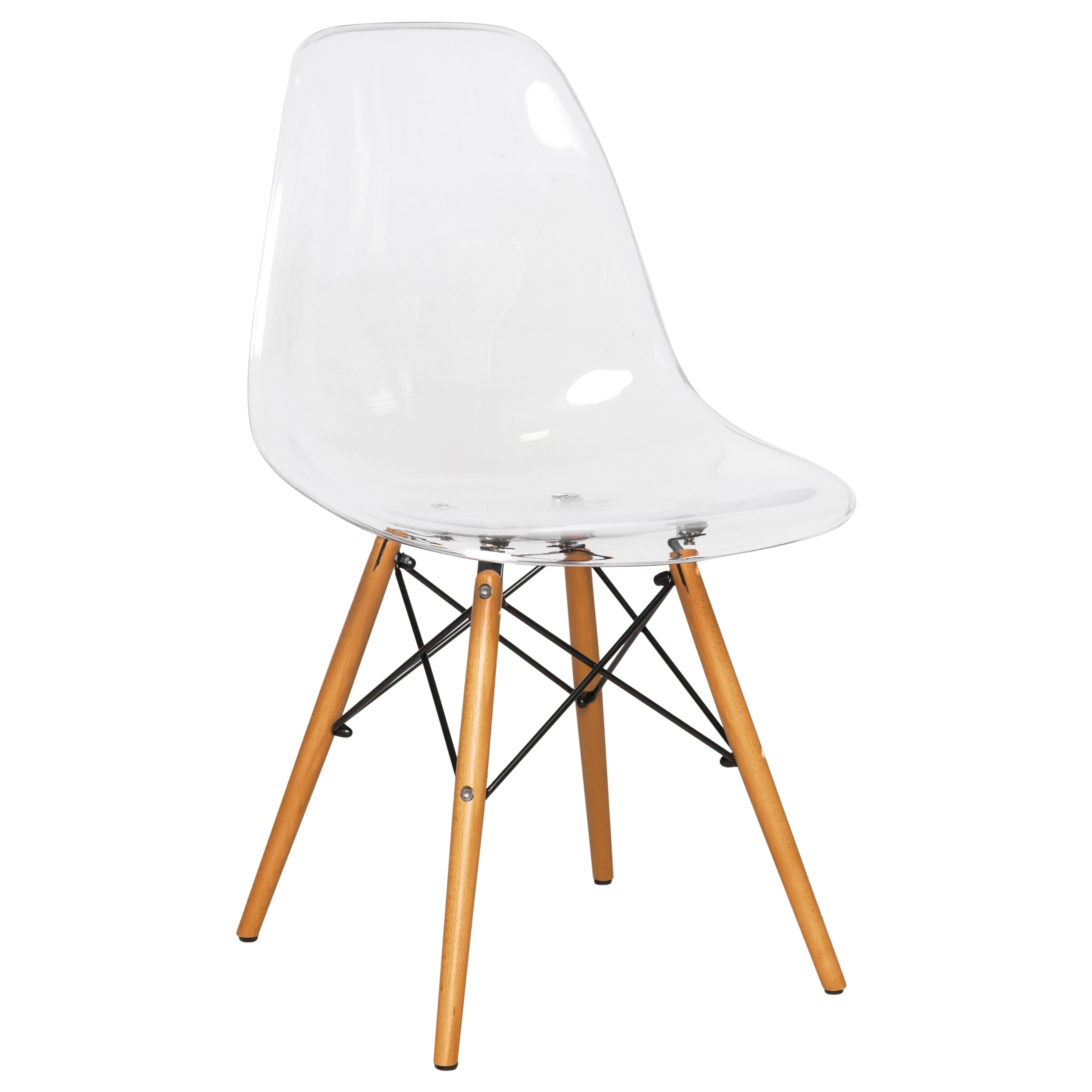 Magnificent Leisuremod Dover Molded Clear Side Dining Chair Eiffel Wood Legs Dailytribune Chair Design For Home Dailytribuneorg