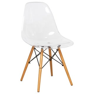 LeisureMod Dover Molded Clear Side Dining Chair Eiffel wood legs