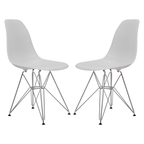 LeisureMod Cresco White Eiffel Chrome Base Dining Side Chair Set Of 2
