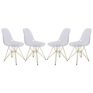 LeisureMod Cresco Molded Eiffel Clear Side Chair with Gold Base (Set of 4)