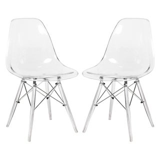 LeisureMod Dover Side Dining Chair with Acrylic Eiffel Base Set of 2