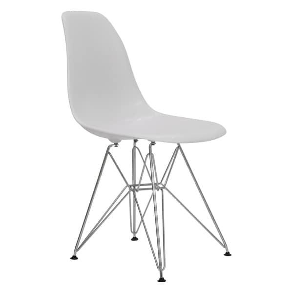 LeisureMod Cresco White Eiffel Chrome Base Dining Side Chair