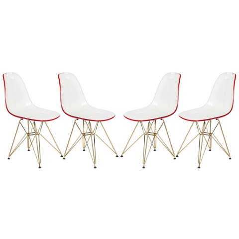 LeisureMod Cresco White Red Dining Chair Eiffel Gold Base Set of 4