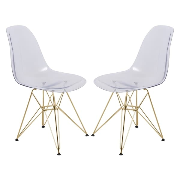 LeisureMod Cresco Molded Eiffel Clear Side Chair With Gold Base (Set Of 2)