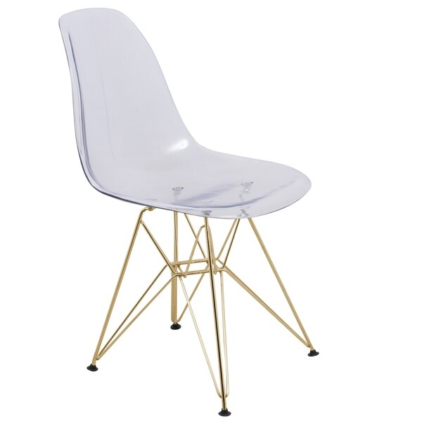 Ordinaire LeisureMod Cresco Molded Eiffel Clear Side Chair With Gold Base
