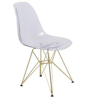 LeisureMod Cresco Clear Eiffel Gold Base Dining Side Chair