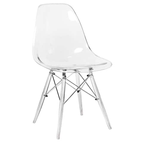 LeisureMod Dover Clear Molded Side Dining Chair W Acrylic Eiffel Base