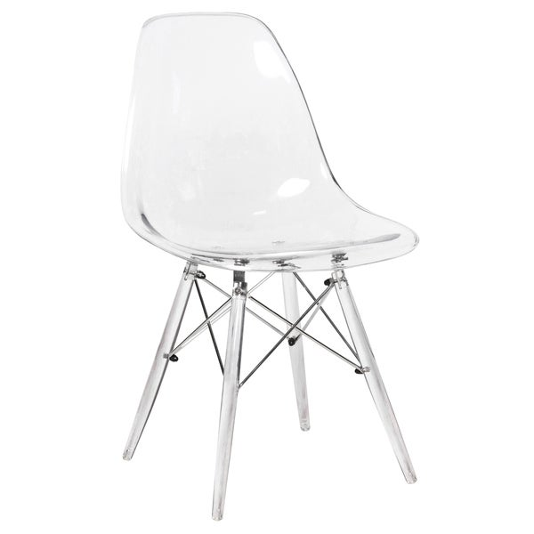 Shop Leisuremod Dover Clear Molded Side Dining Chair W