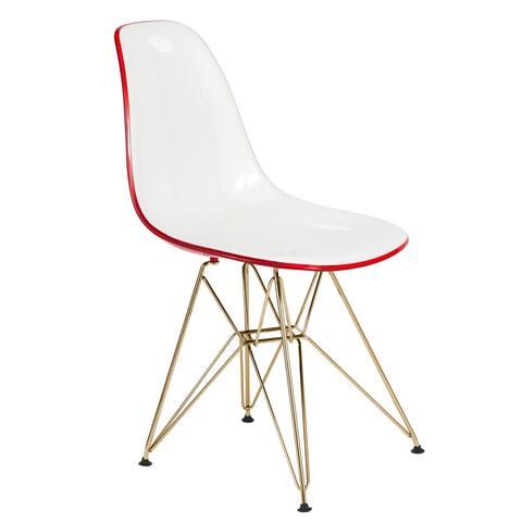 LeisureMod Cresco White Red Dining Chair Eiffel Gold Base