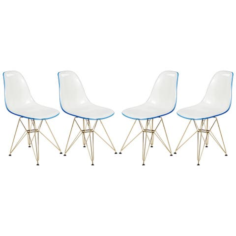 LeisureMod Cresco White Blue Dining Chair Eiffel Gold Base Set of 4