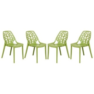 LeisureMod Modern Cornelia Green Dining Chair (Set of 4)