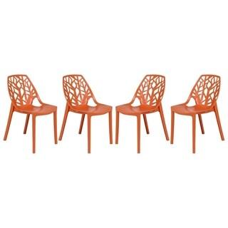 LeisureMod Modern Flora Orange Cut-out Plastic Dining Chair (Set of 4)