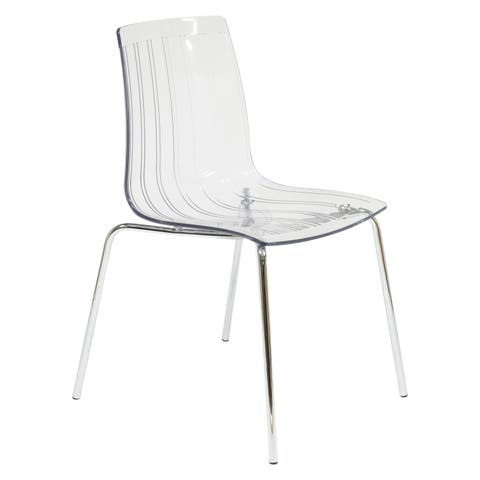 LeisureMod Ralph Mid-Century Modern Clear Dining Side Chair