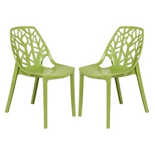 LeisureMod Modern Cornelia Green Dining Chair (Set of 2)