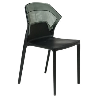 LeisureMod Walton Black Two-tone Polycarbonate UV-protected Dining Chair