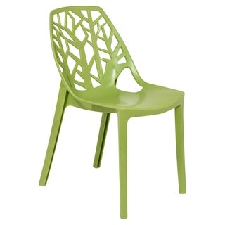 LeisureMod Modern Flora Green Cut-out Plastic Dining Chair