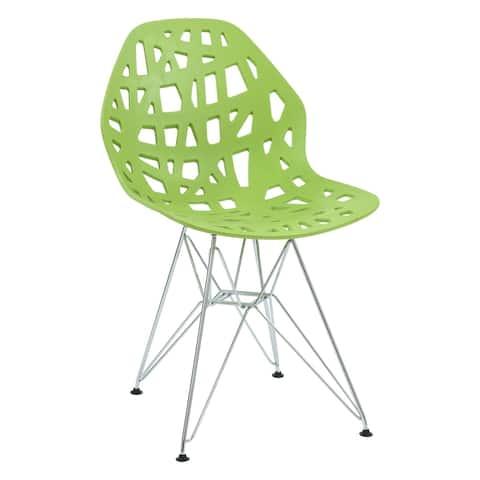 LeisureMod Akron Chrome Eiffel Base Green Dining Side Chair