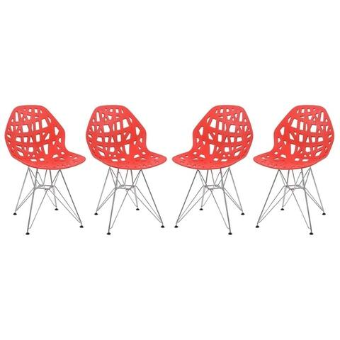 LeisureMod Akron Chrome Eiffel Base Red Dining Side Chair Set of 4