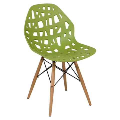 LeisureMod Akron Green Dining Side Chair W/ Dowel Eiffel Base