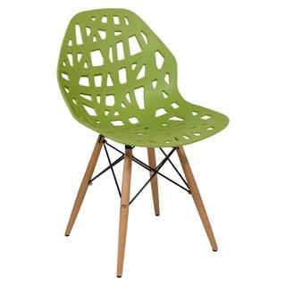LeisureMod Akron Green Dining Side Chair W/ Dowel Eiffel Base